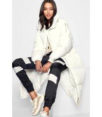 tall lange gewatteerde jas, wit