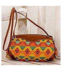 leather accent cotton sling handbag, 'textile splendor' (guatemala)