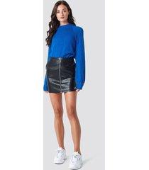 rut&circle pu zip pocket skirt - black