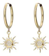 orecchini a cerchio in oro giallo e strass con sole per donna