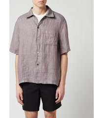 our legacy men's box linen shirt - linen stripe - l
