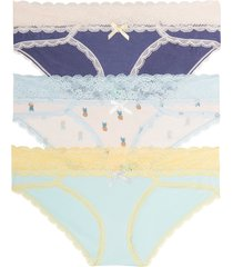 women's honeydew intimates ahna 3-pack hipster panties, size large - blue