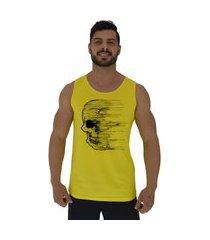 regata clássica masculina alto conceito caveira wind amarelo