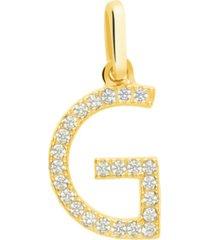 ciondolo lettera g in oro giallo e zirconi per donna