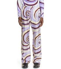 men's raf simons swirl print pull-on cotton pants, size 26 us/ 42eu - purple