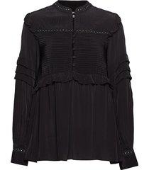 nita stud blouse blouse lange mouwen zwart mos mosh