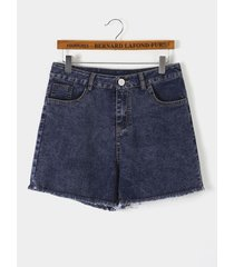navy side pockets high-waisted denim shorts