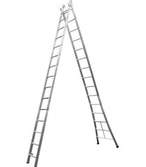 escada de alumínio alulev, 2 x 15 degraus - sp115