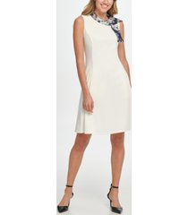 dkny abstract print tie neck fit & flare dress