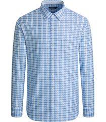 men's bugatchi performance classic fit check stretch button-up shirt, size x-large - blue