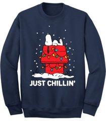 men's snoopy just chillin christmas crew fleece sweatshirt