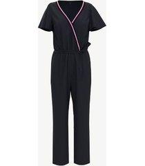 tommy hilfiger women's essential v-neck jumpsuit masters navy - xl