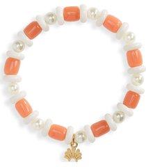 lele sadoughi monaco mini beaded stretch bracelet in coral at nordstrom