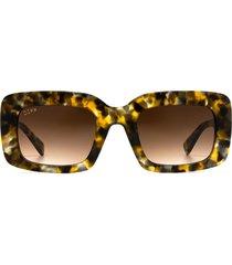 women's diff sterling 50mm rectangle sunglasses - sea turtle tortoise/ brown