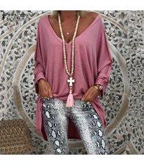 zanzea mujeres batwing manga asimétrica alto bajo tapas de la camisa de la blusa de gran tamaño tee -rosado