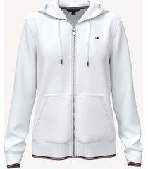 tommy hilfiger women's essential logo sleeve hoodie bright white - xxl