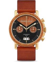 original grain mens mahogany wood chronograph, with cognac italian leather band 44m watch