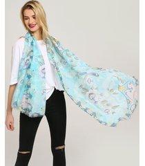 donna sciarpa estiva in cotone con stampa cinese in multicolori da spiaggia antivento casual morbida