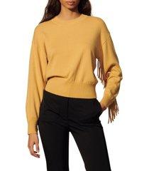 women's sandro fringe crewneck sweater, size 4 - yellow