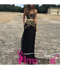 elegant a line strapless gold appliques black chiffon long prom evening dresses