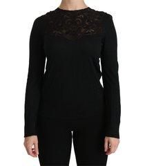 silk lace crew hals blouse
