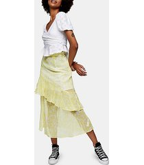yellow chiffon high low ruffle skirt - lemon