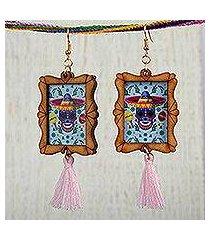wood dangle earrings, 'sugar skull fiesta' (mexico)