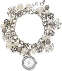 holiday lane women's snowflake silver-tone charm bracelet 26mm, created for macy's