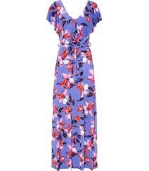 abito lungo con volant e cintura (blu) - bodyflirt boutique