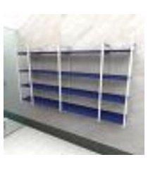 prateleira industrial banheiro aço cor branco 180x30x98cm (c)x(l)x(a) cor mdf azul modelo ind57azb