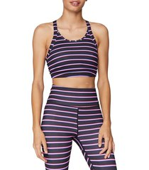 spiritual gangster women's striped sports bra - blue pink - size m