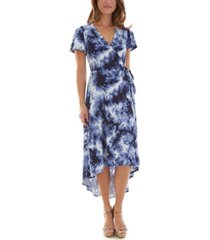 bcx juniors' tie-dye high-low wrap dress