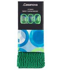 kit cortina e tapete para banheiro bolas 180x180cm verde e azul