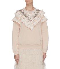 floral sequin embellished ruffle trim sweatshirt
