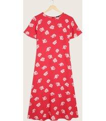 vestido manga corta con vuelo cuello redondo estampado-10