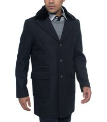 sean john men's single breasted walking coat with detachable faux mink collar