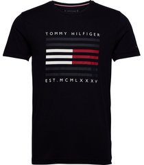 corp flag lines tee t-shirts short-sleeved svart tommy hilfiger