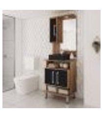 conjunto para banheiro preto e castanho tannat lilies móveis