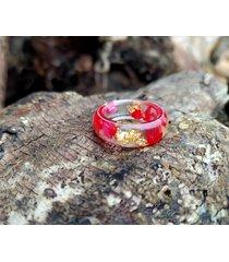 pierścionek z żywicy czerwone muśnięcie