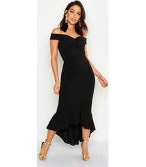 fishtail dip hem maxi bridesmaid dress, black