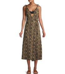 solid and striped women's snake-print wrap dress - snake - size m