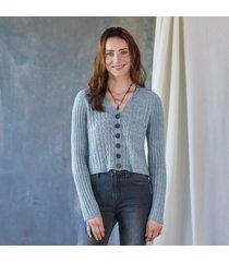 sundance catalog women's cable cardigan in heather gray xs