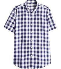 camisa hombre a cuadros color azul, talla l