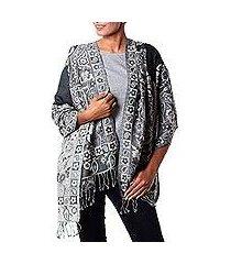 jamawar wool shawl, 'paisley shadow' (india)