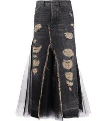 unravel project destroyed tulle denim skirt - black