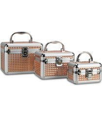 kit 3 maletas rubys alumínio organizadoras para maquiagem e jóias dourada