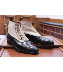 handmade men classic black button top leather boots dress casual leather jeans