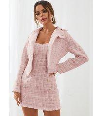 conjunto de falda y top con diseño de botones a cuadros de tweed de yoins