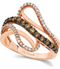 chocolate by petite le vian chocolate and white diamond wave ring (5/8 ct. t.w.) in 14k rose gold