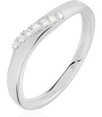 anello in oro bianco e diamanti 0,05 ct per donna